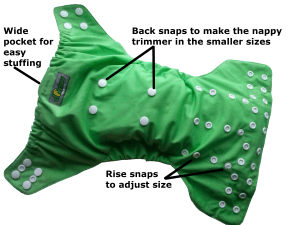 One size nappies; dinky osfm